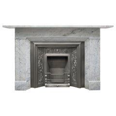 Restored Antique Victorian Carrara Marble Fireplace Surround