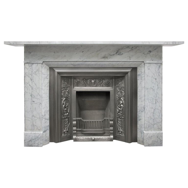 Restored Antique Victorian Carrara Marble Fireplace Surround For Sale