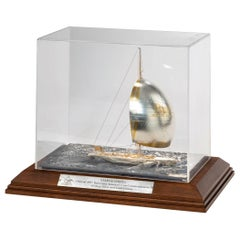 Cased Silver and Gilt Model of America's Cup Yacht Stars and Stripes, 1987