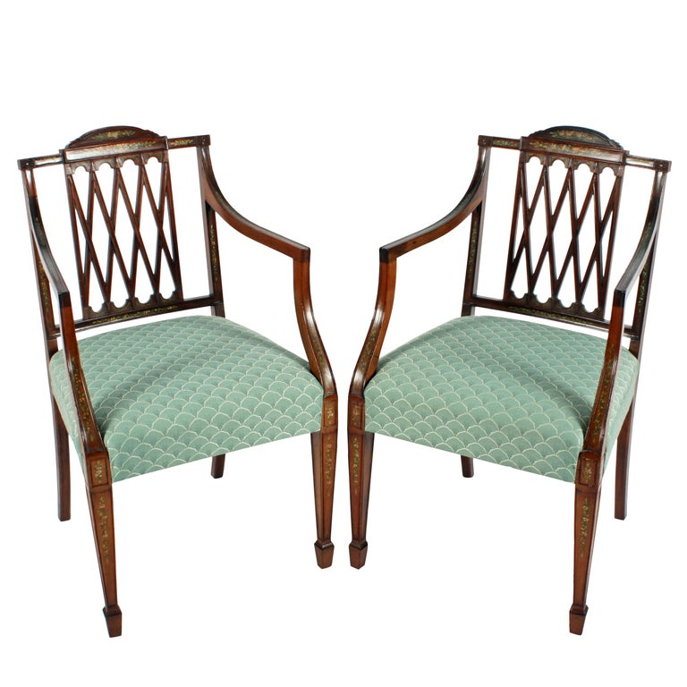 Pair of 19th Century Hepplewhite Style Mahogany & Painted  Elbow Chairs For Sale