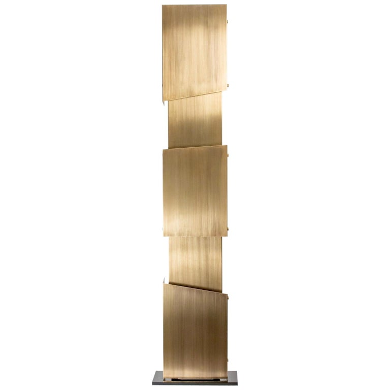 "1980s Carlo Giorgi Sculptural Brass ""Babilonia"" Floor Lamp For Sale"