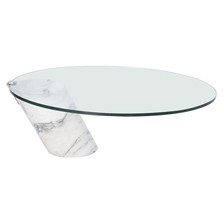 White Marble and Glass Coffee Table Model K1000 by Team Form for Ronald Schmitt For Sale