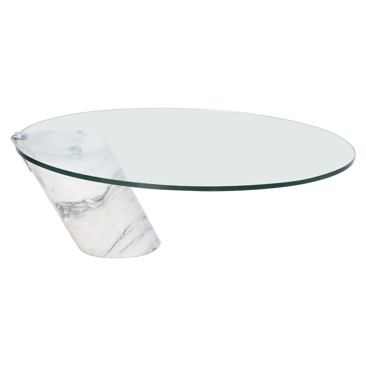 White Marble and Glass Coffee Table Model K1000 by Team Form for Ronald Schmitt