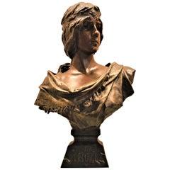 Bronze Buste Signed Emmanuel Villanus, La Sybille