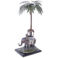 Cold Painted Metal Figure of an Elephant under a Palm Tree