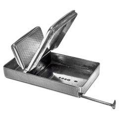 Rare Silver Vesta Combination Cigar Cutter Tinder Box Toothpick, London, 1851