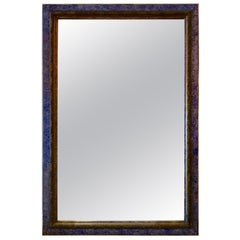 French Faux Finished Mirror with Vibrant Blue Frame, Late 19th Century