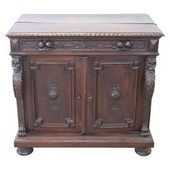 19th Century Italian Renaissance Style Carved Walnut Sideboard or Buffet