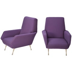 Pair of reupholstered Mid-Century Modern purple Italian lounge chairs