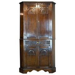 Antique Corner Cabinet, Entryway Decor, Carved Cabinet, Scotland, 1950