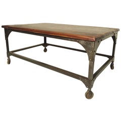 Industrial Wood Top Coffee Table
