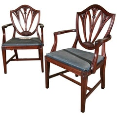 Pair of 19th Century Mahogany Carver Chairs or Elbow Chairs Inc Re Upholstery