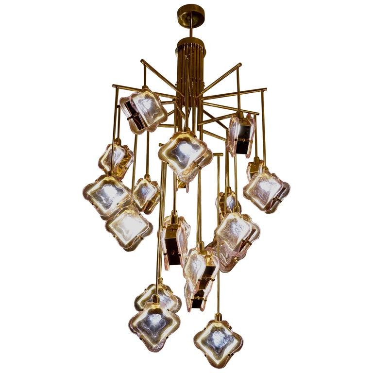 Murano Midcentury Artglass and Brass Chandelier, 1970 For Sale
