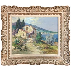 20th Century French Sea Side Painting Signed Fortuné Car, 1950s