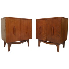 Mid-Century Modern Nightstands with Sculpted Handles