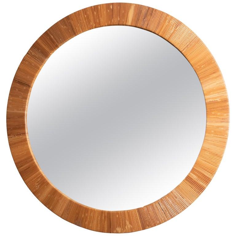 Round Rattan Surround Mirror For Sale