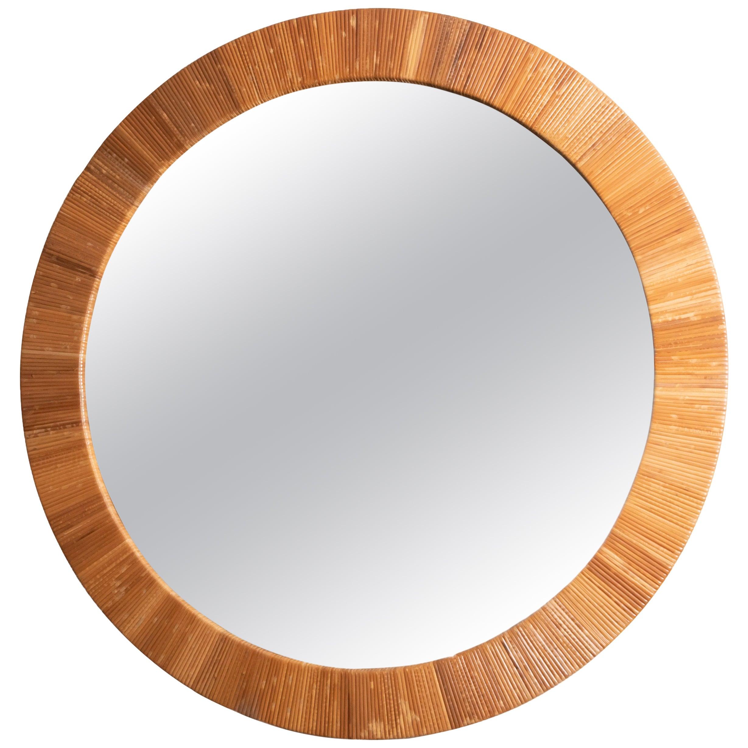 Round Rattan Surround Mirror