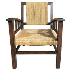 Vintage Braided Wicker and Wood Armchair by Francis Jourdain