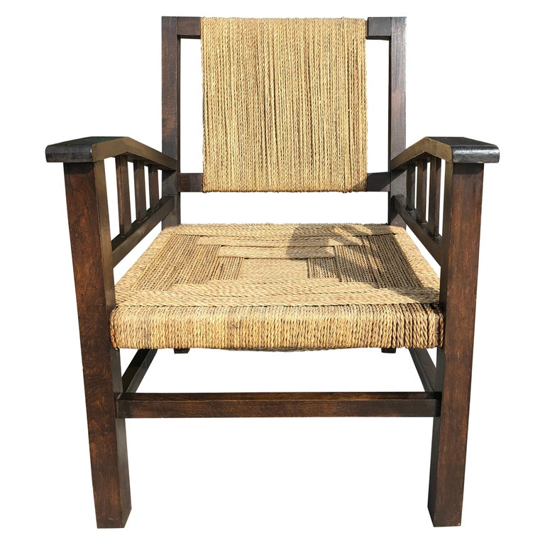 Vintage Braided Wicker and Wood Armchair by Francis Jourdain For Sale