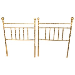 Vintagehollywood Regency Pair of Faux Bamboo Brass Twin Size Headboards