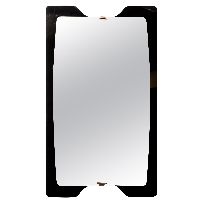 Unusual Black Glass Surround Mirror with Brass Details