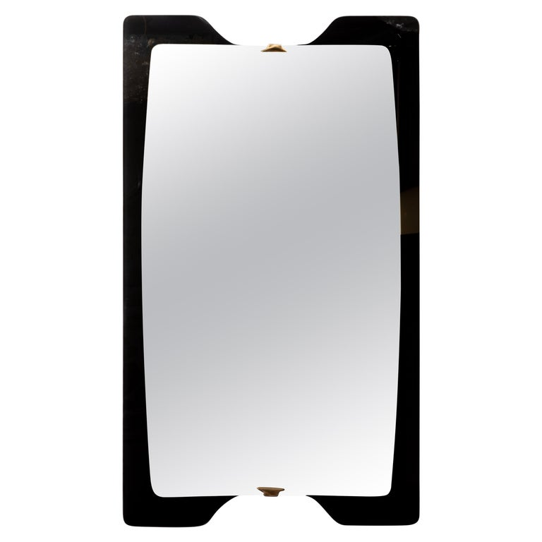 Unusual Black Surround Mirror with Brass Details For Sale