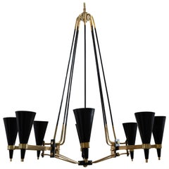 Brass and Black Enameled Metal Chandelier Featuring Conical Shades, by Stilnovo