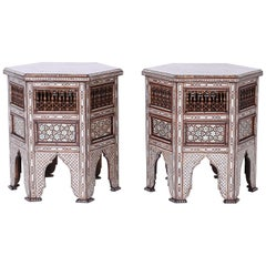 Pair of Syrian Hexagon End Tables or Stands