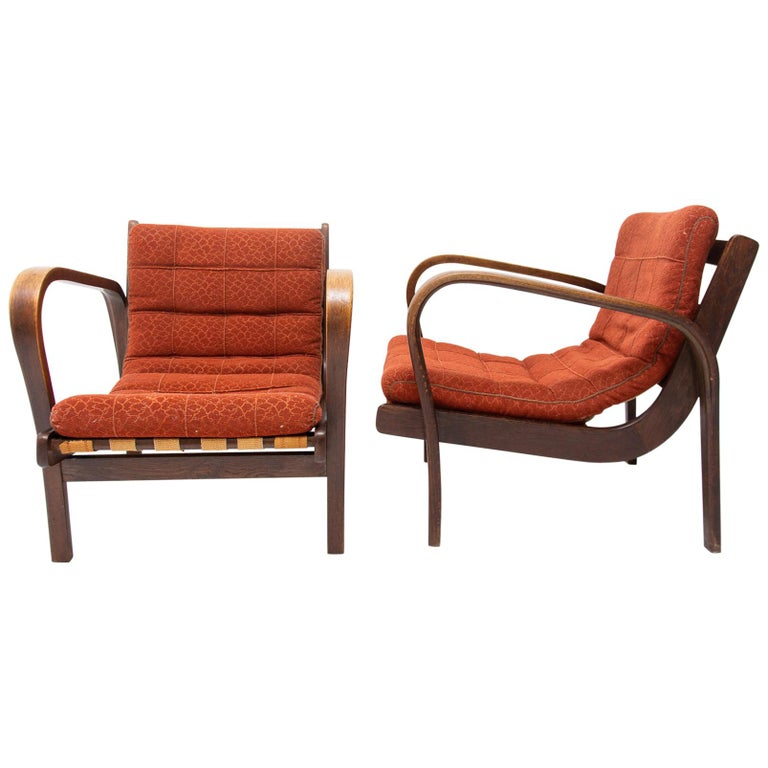 Midcentury Armchairs by Kropacek and Kozelka for Interier Praha 1944, Set of Two For Sale