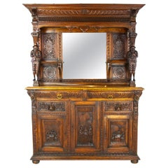 Antique Oak Sideboard, Carved Oak Sideboard, Anglo-Flemish, Scotland 1880, B1498