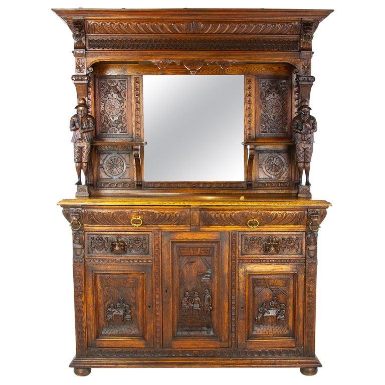 Antique Oak Sideboard, Carved Oak Sideboard, Anglo-Flemish, Scotland 1880, B1498 For Sale