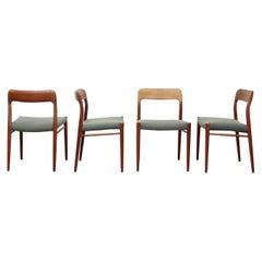 Danish Set of four Teak Niels Moller #75 Dining Chairs, 1960