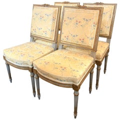 Set of 4 French Louis XVI Silk Upholstered Side Chairs