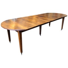 19th Century Circassian Walnut Louis XVI Style French Provincial Dining Table