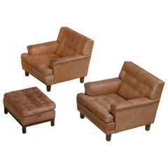 Arne Norell Buffalo Leather Easy Chairs with Ottoman, 1960s