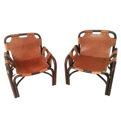 Pair of Bonacina Midcentury Bamboo and Brown Leather Italian Armchairs, 1960s