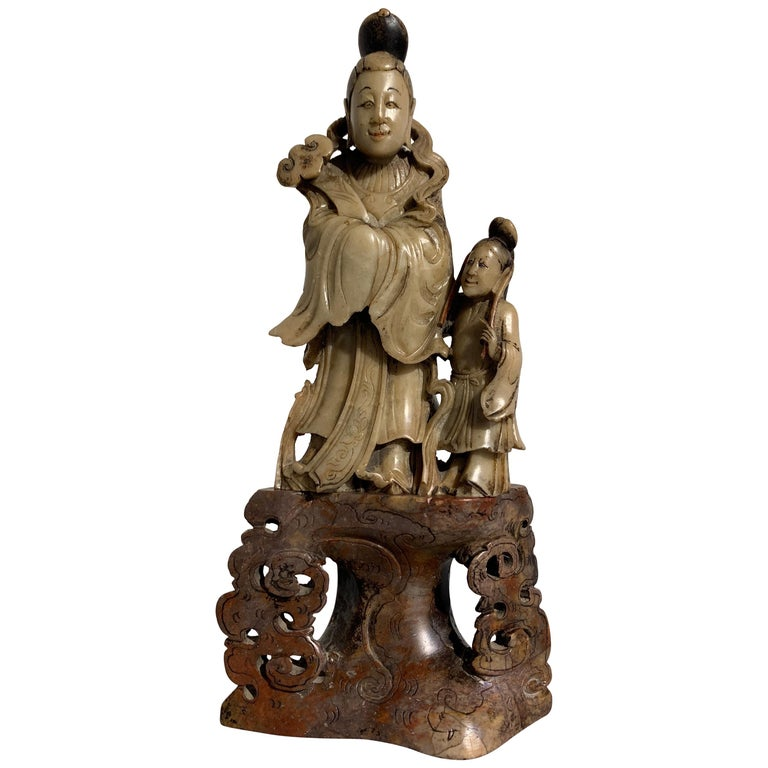 Chinese Carved Soapstone Immortal and Attendant, Qing Dynasty, 19th Century For Sale