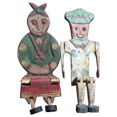 Pair of American Folk Art Mid-20th Century Carved Wood Figures