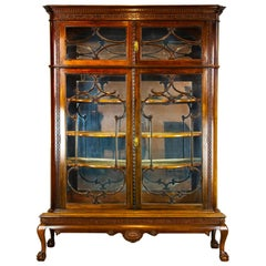 Antique Display Cabinet, Walnut Display, China Cabinet, Scotland 1920, B1501