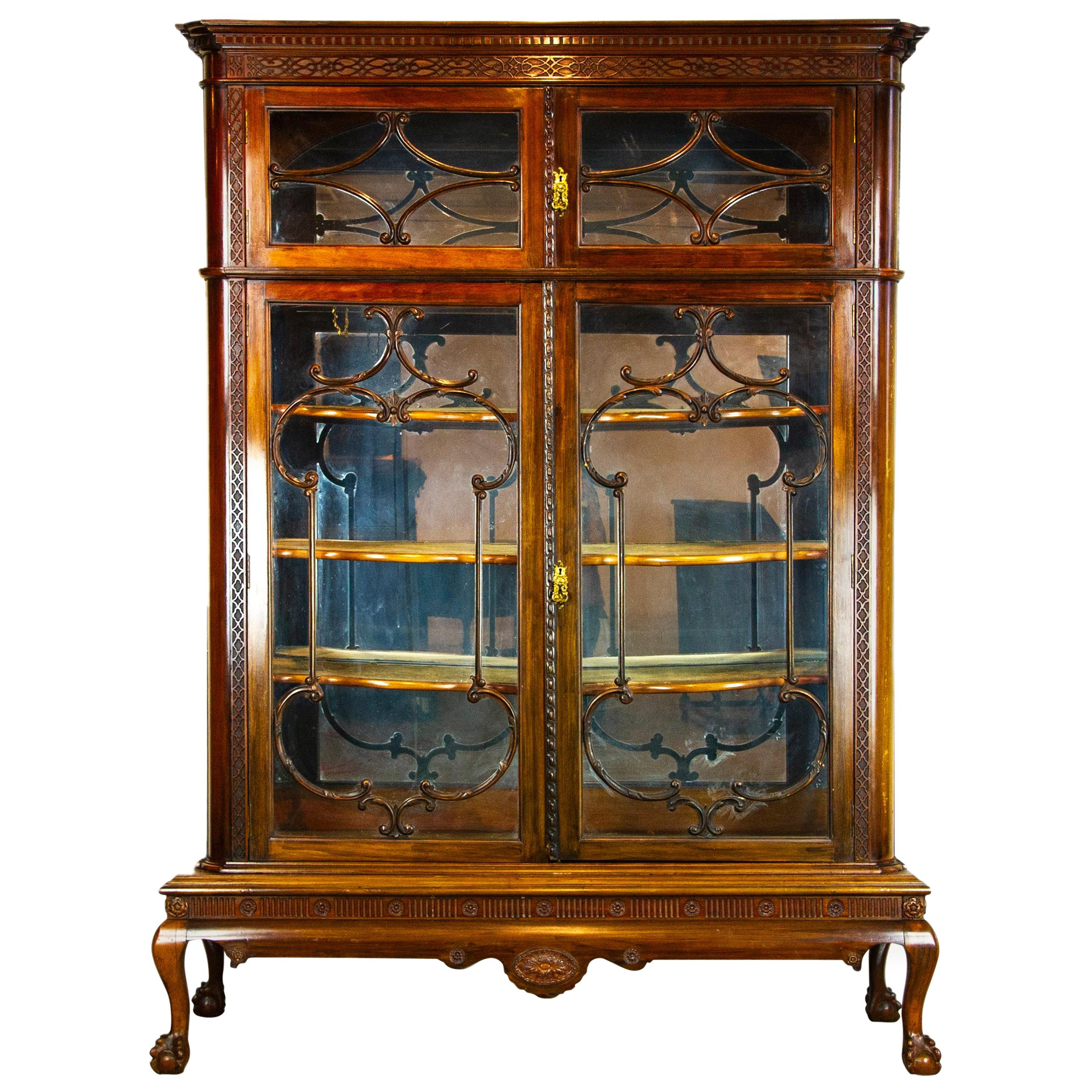 Delicieux Antique Display Cabinet, Walnut Display, China Cabinet, Scotland, 1920