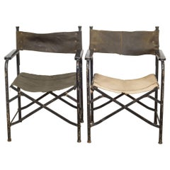 Distressed Miltary Folding Director's Chairs, circa 1940