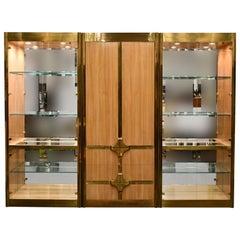 Mastercraft Three-Piece Brass and Walnut Vitrine Display Cabinet, 1970s