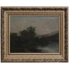 Antique Hudson River School Oil on Canvas Landscape Painting, 19th Century