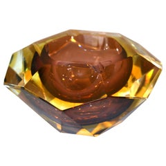 Signed Multi Faceted Murano Glass Ashtray Attributed to Flavio Poli, Italy