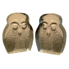 Vintage Pair of Blenko Owl Form Bookends