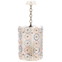Murano Glass Blue and Pink Cylindrical Floral Pendant Light
