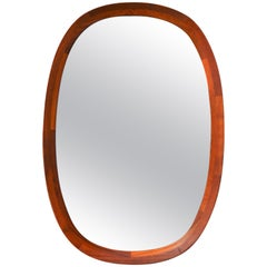 Large Danish Teak Oval or Ovoid Framed Mirror with Flared Edges by Sika Mobler