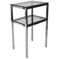 Side Table with Two Levels Steel and Glass Style Romeo Rega, Italy, 1980s