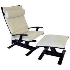 Pair of 1980s High Tech Decorator Aluminum Outdoor Chairs with Ottomans