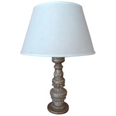 French Hand Carved Hand Painted Wood Candlestick Table Lamp with Shade